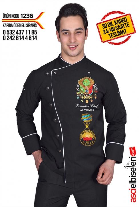 OSMANLI LOGOLU ŞEF AŞÇI CEKETİ Siyah - İsminizin aşçı ceketinize işlenmesi HEDİYE