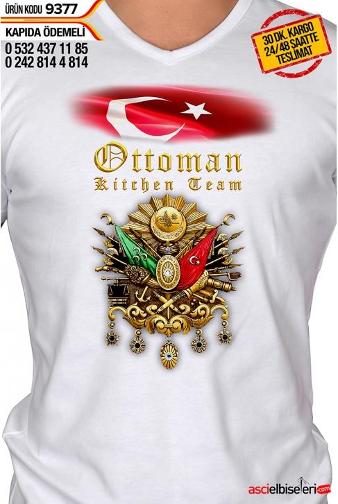 9377- OSMANLI ARMALI AY YILDIZLI ŞEF AŞÇI TİŞÖRTÜ BEYAZ