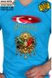 9379- OSMANLI LOGOLU AY YILDIZ BAYRAKLI ŞEF AŞÇI TİŞÖRTÜ TURKUAZ