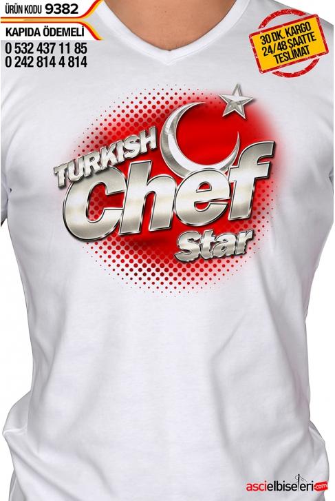 9382- TURKISH CHEF STAR AŞÇI ÇALIŞMA TİŞÖRTÜ BEYAZ