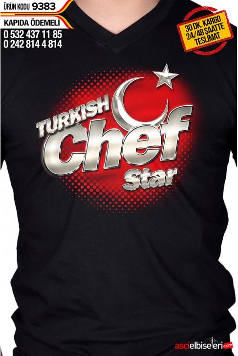 9383- TURKISH CHEF STAR AŞÇI ÇALIŞMA TİŞÖRTÜ SİYAH