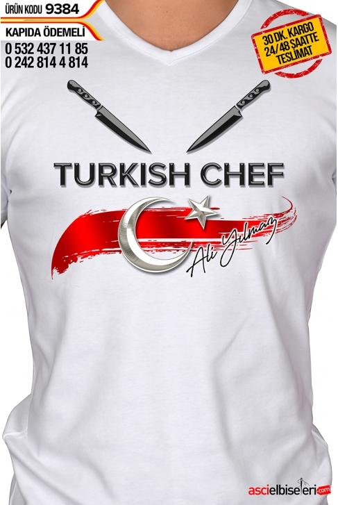 9384- ÇİFT BIÇAKLI TURKISH CHEF AŞÇI ÇALIŞMA TİŞÖRTÜ BEYAZ (isminizin yazılması ÜCRETSİZ)