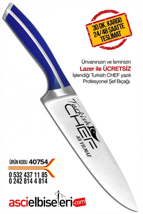 40754- TURKISH CHEF İŞLEMELİ ve BAYRAK DESENLİ ŞEF BIÇAKLARI (20 cm) İsminizin lazerle işlenmesi ÜCRETSİZ