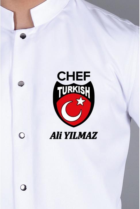 051- TÜRK BAYRAĞI ve TURKISH CHEF ALTINA İSMİNİZİ NAKIŞ İLE İŞLETİN