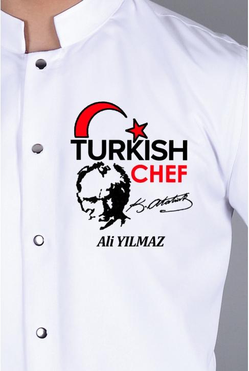 053- ATATÜRK ve TÜRK BAYRAKLI TURKISH CHEF NAKIŞI