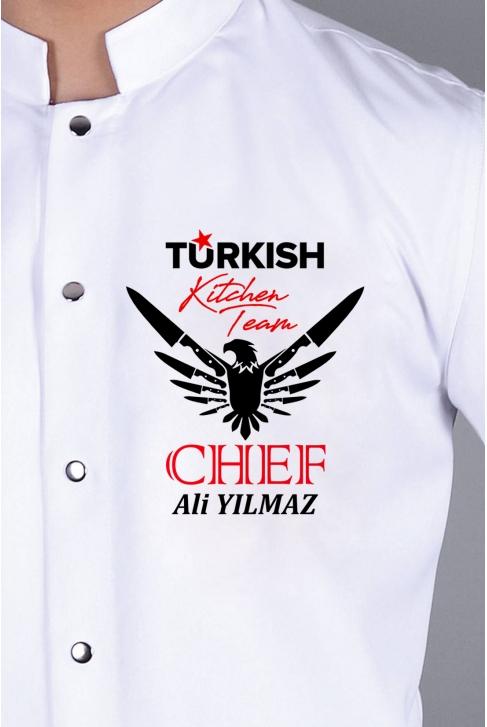 061- TURKISH KITCHEN TEAM, BIÇAKLI KARTAL, ÜNVAN ve İSMİNİZİ NAKIŞ İŞLİYORUZ