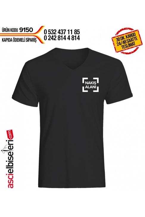 LOGO NAKIŞLI TİŞÖRT SİYAH Göğüse firma logo nakışı HEDİYE