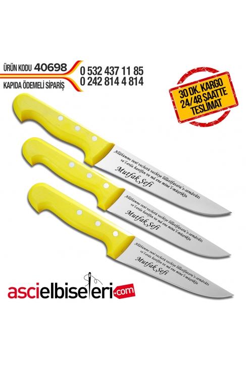 KURBAN DUALI KASAP BIÇAKLARI 3lü SET MODELİ Bıçakların üstüne isminizin yazılması HEDİYE