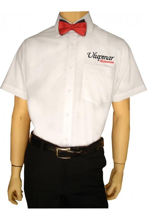 KISA KOLLU DAR KESİM ERKEK GARSON GÖMLEKLERİ Sol göğüse firma adınızın nakış ile işlenmesi HEDİYE